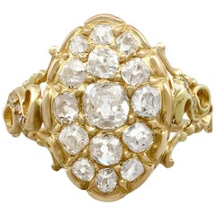 1870s Antique Victorian 1.51 Carat Diamond and Yellow Gold Cocktail Ring