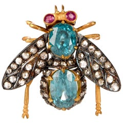 Blue Zircon Diamond Silver Bug Pin Brooch
