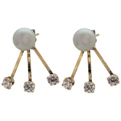 14 Karat Yellow Gold Tribal Style Freshwater Pearl and Cubic Zirconia Earrings