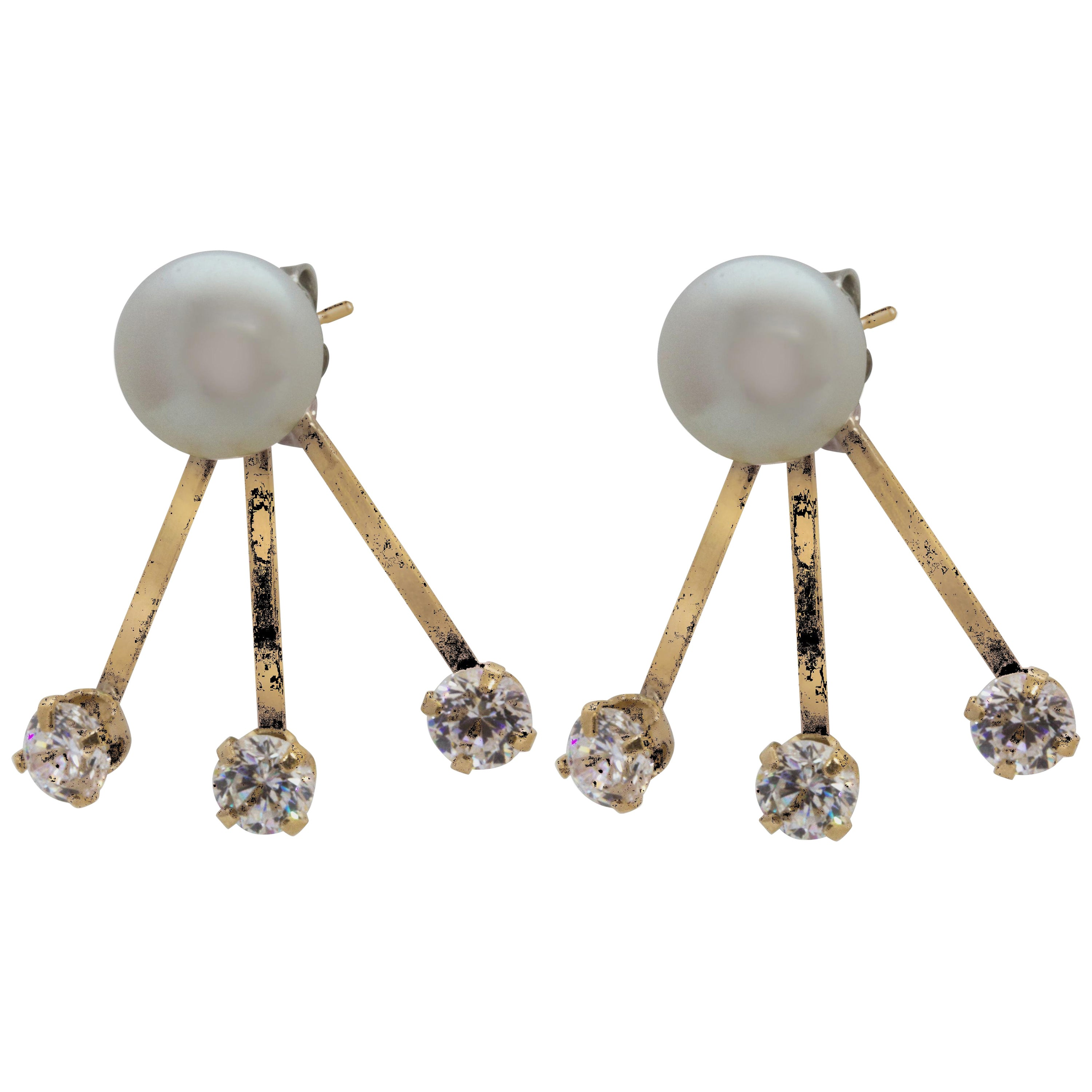 3ed18fbb4 14 Karat Yellow Gold Tribal Style Freshwater Pearl and Cubic Zirconia  Earrings For Sale at 1stdibs