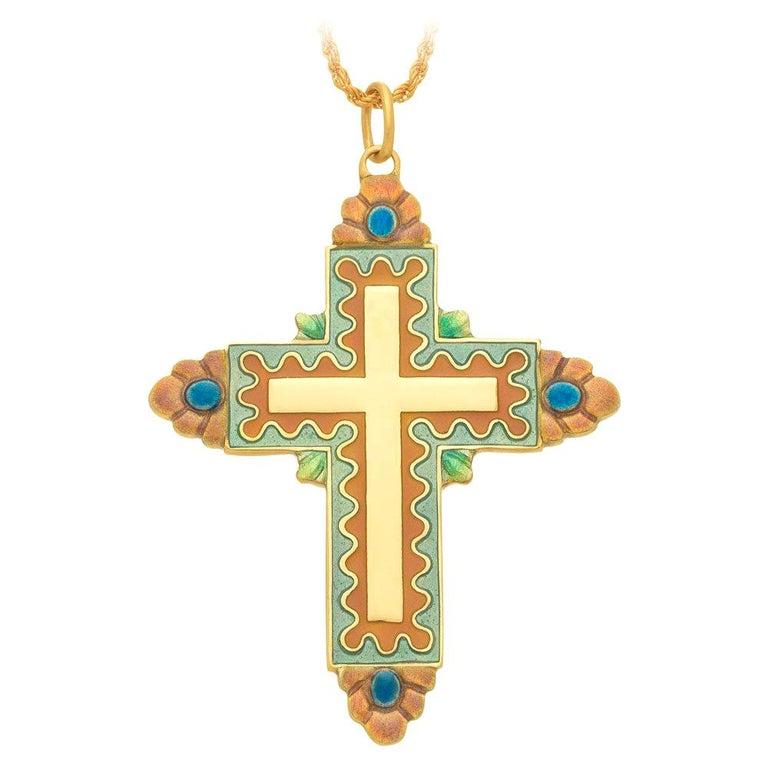 Masriera 18 Karat Yellow Gold and Enamel Cross For Sale