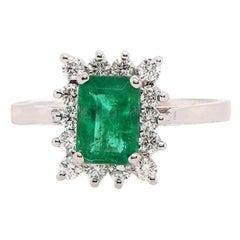0.89 Carat Emerald and Diamond Ring