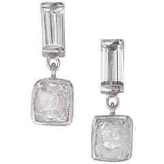 Peter Suchy EGL Certified 1.35 Carat Diamond Platinum Dangle Earrings
