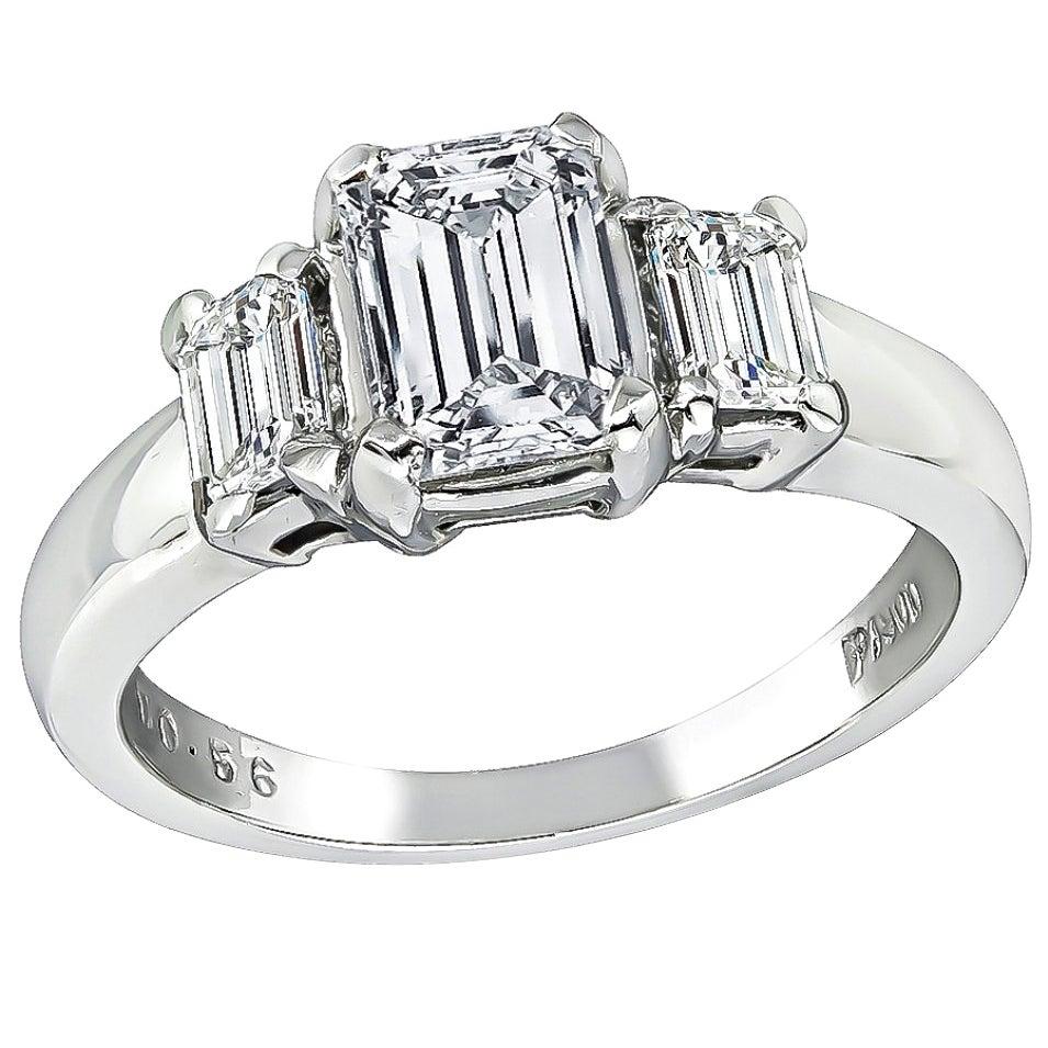 GIA Certified 1.01 Carat Diamond Platinum Ring
