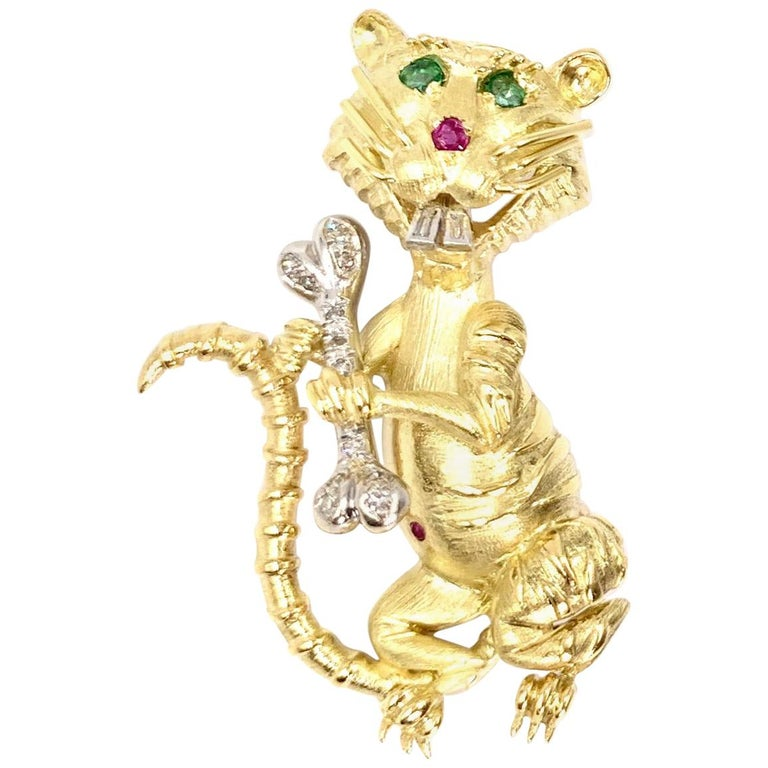 Hammerman Brothers 18 Karat Diamond, Emerald and Ruby Wild Cat Brooch For Sale