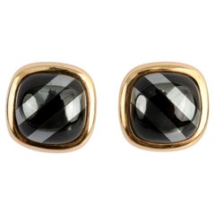 Hematite and Onyx Gold Earrings