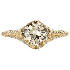 1.50 Carat Old European Cut Diamond Engagement Ring