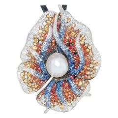 Maggioro, 18 Karat White Gold Multi-Color Sapphire, Diamond, and Pearl Pendant