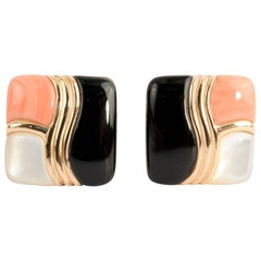 Asch Grossbardt Onyx; Coral and Mother of Pearl Earrings