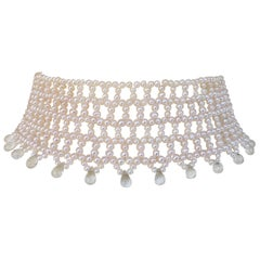 Wide Woven Pearl Choker with Green Amethyst Briolettes and Sliding Clasp