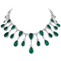 Important Pear Shape Colombian Emerald and Diamond Necklace
