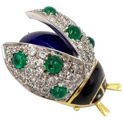 18 Karat Diamond, Emerald and Enamel Beetle Brooch