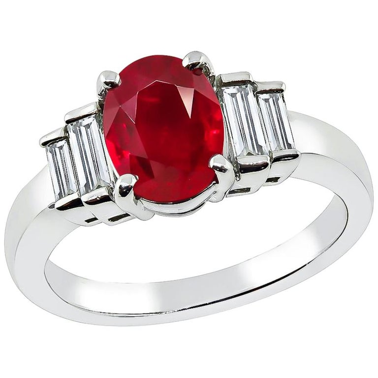 Natural 1.14 Carat Ruby Diamond Platinum Ring For Sale