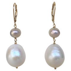 Marina J White and Grey Pearl Drop Earrings with 14 K Yellow Gold Lever Backs