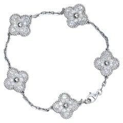 Van Cleef & Arpels White Gold Vintage Alhambra Motifs Diamond Bracelet