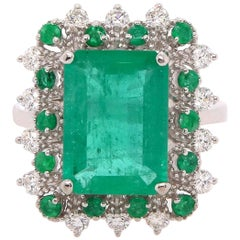 3.56 Carat Emerald and Diamond Ring