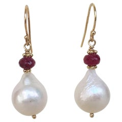 White Pearl Drop Earrings with Faceted Ruby Beads and 14 Karat Yellow Gold Hooks