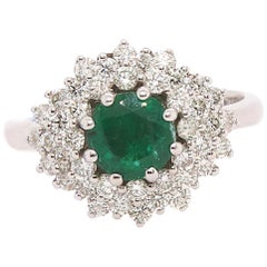 1.02 Carat Round Emerald and Diamond Ring