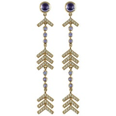 Marlo Laz Pave Diamond, Tanzanite, Iolite Long Arrow Evening Statement Earrings