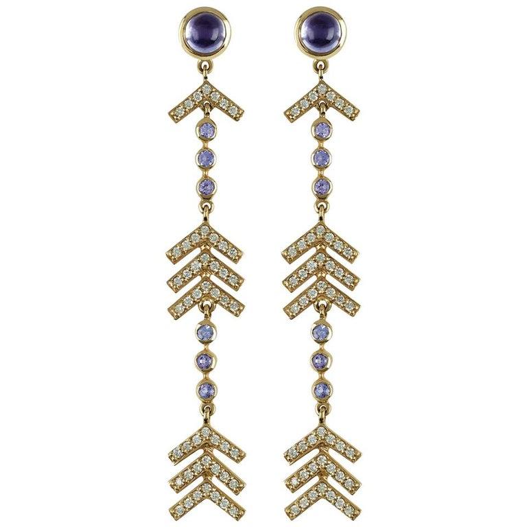 Marlo Laz Pave Diamond, Tanzanite, Iolite Long Arrow Evening Statement Earrings For Sale