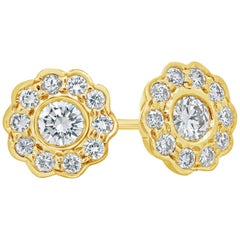 Round Diamond Yellow Gold Flower Earrings