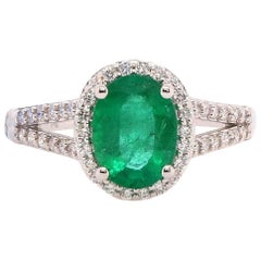1.37 Carat Oval Emerald and Diamond Ring