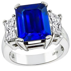 5.62 Carat Sapphire Diamond Platinum Engagement Ring