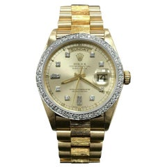 Rolex Day Date President 18078 Diamond Dial and Bezel 18 Karat Gold Bark Finish