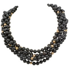 Onyx and Gold Bead Strand Necklace with an 18 Karat Yellow Gold Clasp