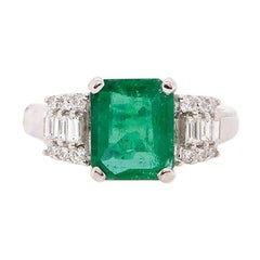 1.98 Carat Emerald and Diamond Ring