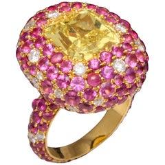 5.08 Carat Intense Yellow Diamond Ring
