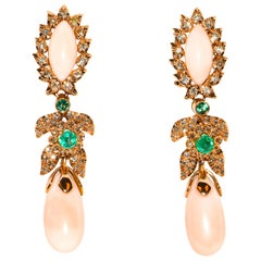 Luise Gioielli Angel Skin Coral Teardrop Earrings Framed with Gold and Diamonds