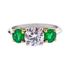 Tiffany & Co. Diamond and Emerald Three-Stone Ring