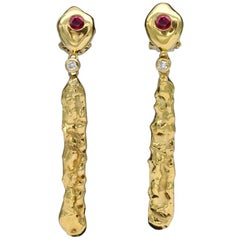 Modern 18 Karat Gold Ruby and Diamond Dangle Earrings