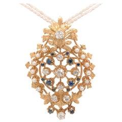 Diamond Sapphire Pearl Yellow Gold Brooch Pendant Combination