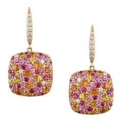 Ruby Multi-Color Sapphire Diamond Gold Cluster Drop Earrings