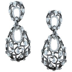 Diamond Gold Floral Drop Earrings