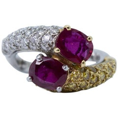AGL Certified 18K White Gold Ruby, White and Yellow Pave Diamond Bypass Ring