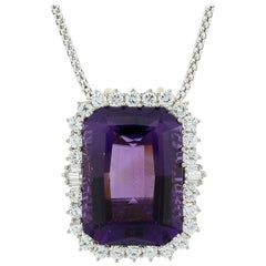 Estate Amethyst Diamond Gold Pendant