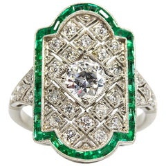 Antique Diamond Old European Cut GIA Certified Engagement Ring with Emeralds
