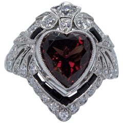 Antique Platinum GIA Certified Ruby Heart, Diamond and Black Onyx Ring