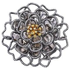 Yellow and Flat Diamond Flower Brooch