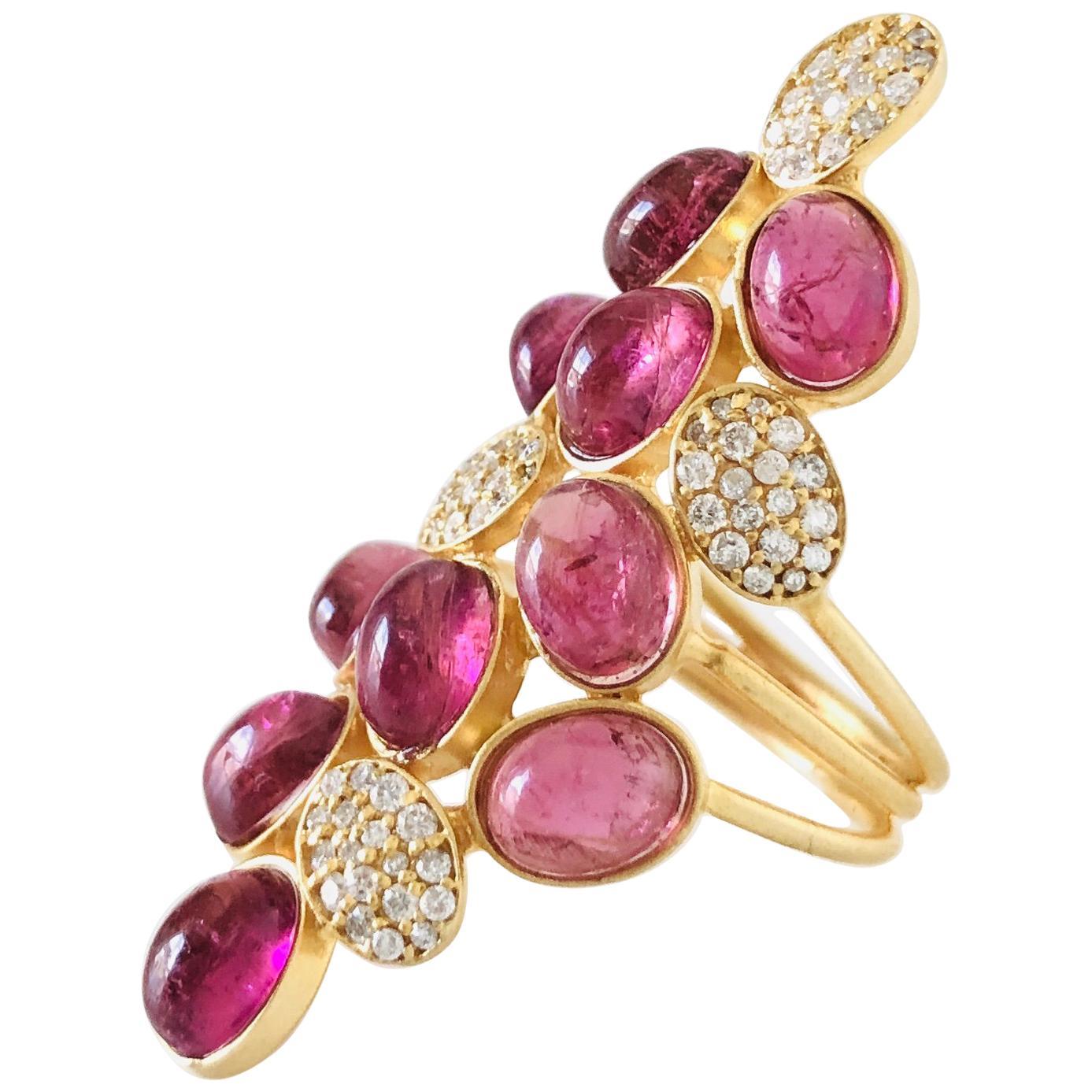 11.51 Carat Pink Tourmaline Diamond Cocktail Statement Ring by Lauren Harper