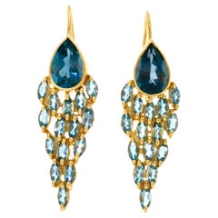 Lauren Harper Blue Topaz Aquamarine 18 Karat Gold Earrings