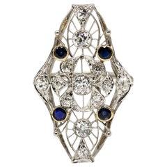 Antique Vintage Estate Platinum Sapphire and Diamond Shield Ring