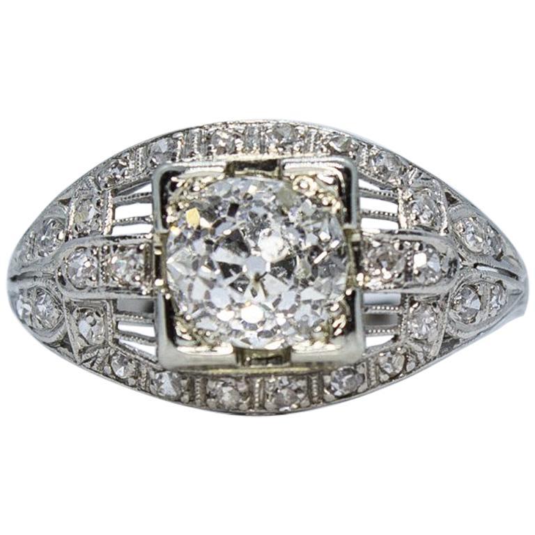 c0d769d2a16f0 Antique Estate Vintage Edwardian Diamond Platinum Engagement Ring