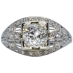 Antique Estate Vintage Edwardian Diamond Platinum Engagement Ring