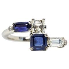 Platinum Estate Sapphire and Diamond Bypass Fashion Ring