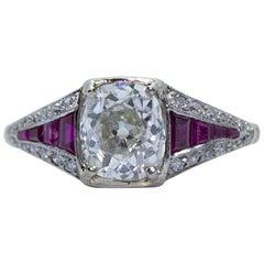 Platinum and 14 Karat Edwardian Antique Ruby and Diamond Old Mine Cut Ring