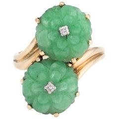 Vintage Carved Jade Diamond Ring Moi et Toi 14 Karat Yellow Gold Flower Jewelry